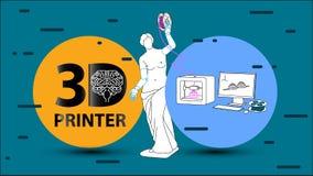 Drucker 3D Arme für Venus de Milo Stockbild