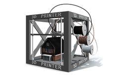 Drucker 3d beendete ein Haus Stockbild