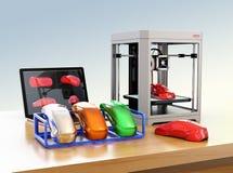 Drucker 3D, Laptop und Produkt färben Proben stock abbildung