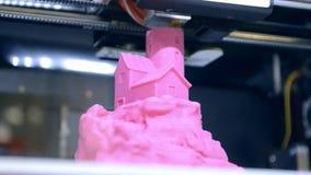 Drucker 3D macht nach Hause eine Skizze stock video footage