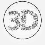 Drucker-Textikone des Vektors 3d Lizenzfreies Stockbild
