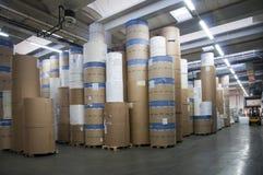 Druckerei: Papierlager Lizenzfreie Stockbilder