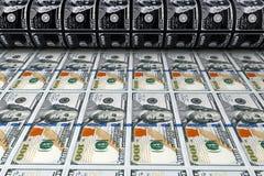 Druckgeld 100 Dollarscheine Wiedergabe 3d Lizenzfreies Stockbild