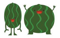 Druckkarikatur kritzelt die flachen glücklichen Wassermelonenmonster der SommerFarbsatz-Zitrusfrucht stock abbildung