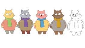 Druckkarikaturgekritzel-Farbsatz-Katzenmonsterhand zeichnen glückliches stock abbildung
