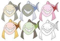 Druckkarikaturgekritzelfischhaifischmonster-Farbsatzhand zeichnen glückliches lizenzfreie abbildung