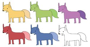 Druckkarikaturgekritzelfuchs-Farbsatz-Monsterhand zeichnen glückliches stock abbildung