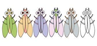 Druckkarikaturgekritzelmonsterwanzenfliegen-Farbsatzhand zeichnen lustiges stock abbildung