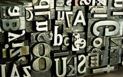 Druckmaschine gesetzter veralteter Typografie-Text Stockfoto