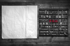Druckstillleben mit Beschriftung Lizenzfreie Stockbilder