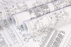 Druckzeichnungen von elektrischen Stromkreisen Wissenschaft, Technologie und Elektronik lizenzfreies stockbild