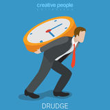 Drudge hard overtime work flat 3d isometric vector Stock Image