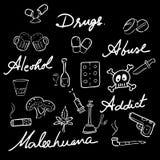 Drug abuse addict icons set words Royalty Free Stock Photography