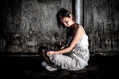 Free Drug Abuse Concept., Overdose Asian Female Drug Addict Use Syringe Injection Narcotic To Her Hand., In Scary Abandoned Royalty Free Stock Photography - 87036267