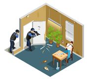 Drug Addict Isometric Composition. Detention of drug addict by police with gun during injection isometric composition with interior elements vector illustration Stock Photography