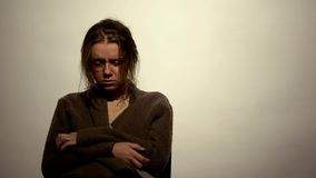 Drug addicted woman suffering withdrawal symptoms undergoing rehabilitation royalty free stock images