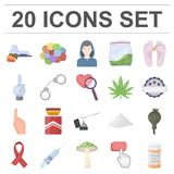 Drug addiction and attributes cartoon icons in set collection for design. Addict and Drug vector symbol stock web. Drug addiction and attributes cartoon icons in Royalty Free Stock Images