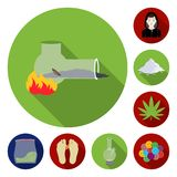 Drug addiction and attributes flat icons in set collection for design. Addict and Drug vector symbol stock web. Drug addiction and attributes flat icons in set Stock Photos