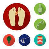 Drug addiction and attributes flat icons in set collection for design. Addict and Drug vector symbol stock web. Drug addiction and attributes flat icons in set Royalty Free Stock Images