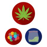Drug addiction and attributes flat icons in set collection for design. Addict and Drug vector symbol stock web. Drug addiction and attributes flat icons in set Royalty Free Stock Photography