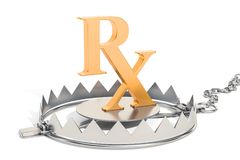 Drug addiction concept, bear trap with prescription symbol. 3D r. Drug addiction concept, bear trap with prescription symbol. 3D Royalty Free Stock Images