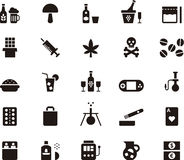 Drug and addiction icon set Royalty Free Stock Photography