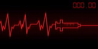Drug addictive heartbeat. Abstract drug addictive heartbeat and syringe illustration Stock Photo
