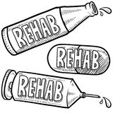 Drug and alcohol rehab sketch Royalty Free Stock Images