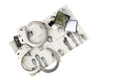 Drug arrest with Handcuffs and Evidence Stock Photo