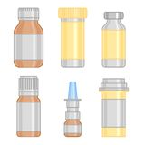 Drug bottle colorful line icons set Stock Photo
