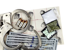 Drug Bust Handcuffs Evidence Cash Fingerprint Drugs Royalty Free Stock Photos