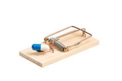 Drug Capsule in a Mousetrap Stock Images