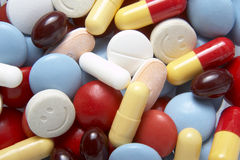 Drug closeup. Close up of colorful tablets and pills Stock Photography