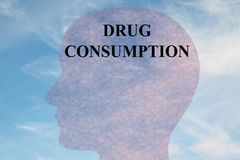 Drug Consumption - behavioral concept. Render illustration of DRUG CONSUMPTION title on head silhouette, with cloudy sky as a background Royalty Free Stock Images
