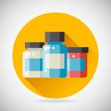 Drug Cure Medicine Box Vial Bottle Jar Icon heal. Treatment symbol Stylish Background Modern Flat Design Vector Illustration royalty free illustration