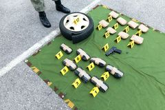 Drug evidence seized during the police raid Stock Image