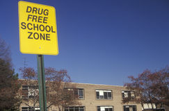 A drug free school zone sign Stock Image