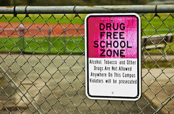 Drug Free School Zone Sign. The sign outlines that the school is a drug free zone Stock Photos