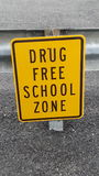 Drug Free School Zone. An unusual sign to British eyes snapped in Washington DC Royalty Free Stock Images