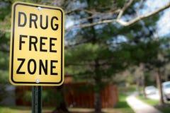 Drug free zone sign. Outside royalty free stock image