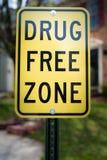 Drug free zone sign. Outside stock photos