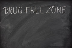 Drug free zone text on a school blackboard Stock Photos