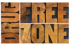 Drug free zone in wood type Stock Photo