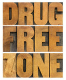 Drug free zone in wood type Stock Images