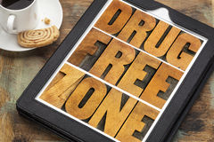 Drug free zone in wood type Royalty Free Stock Photo