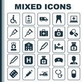 Drug Icons Set. Collection Of Pellet, Surgical Bag, Nanny And Other Elements. Also Includes Symbols Such As Pills, Pill Stock Photo