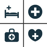 Drug Icons Set. Collection Of Plus, Heal, Surgical Bag And Other Elements. Also Includes Symbols Such As Plus, Bag, Aid. Drug Icons Set. Collection Of Plus Stock Photography