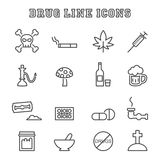 Drug line icons Stock Images