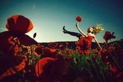Drug and love intoxication, woman in field of poppy seed royalty free stock photography