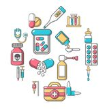 Drug medicine icons set, cartoon style. Drug medicine icons set. Cartoon illustration of 16 drug medicine icons set vector icons for web Royalty Free Stock Photography
